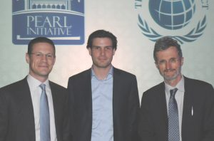 Daan Elffers, Chairman Islamic Reporting Initiative (center) with Badr Jafar, Founder of the Pearl Initiative (left) and Georg Kell, Executive Director of the UN Global Compact (right). Photography: Irene Hell